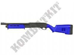 CM355M Metal BB Gun M870 Replica Tri Shot Pump Action Airsoft Shotgun 2 Tone Blue Black